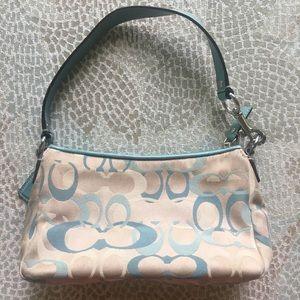 Coach purse light blue monogram style